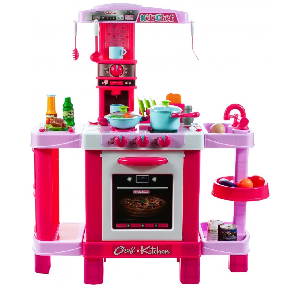 Bucatarie pentru fetite MalPLay cu electrocasnice si accesorii, lumini si sunete, inaltime 87 cm