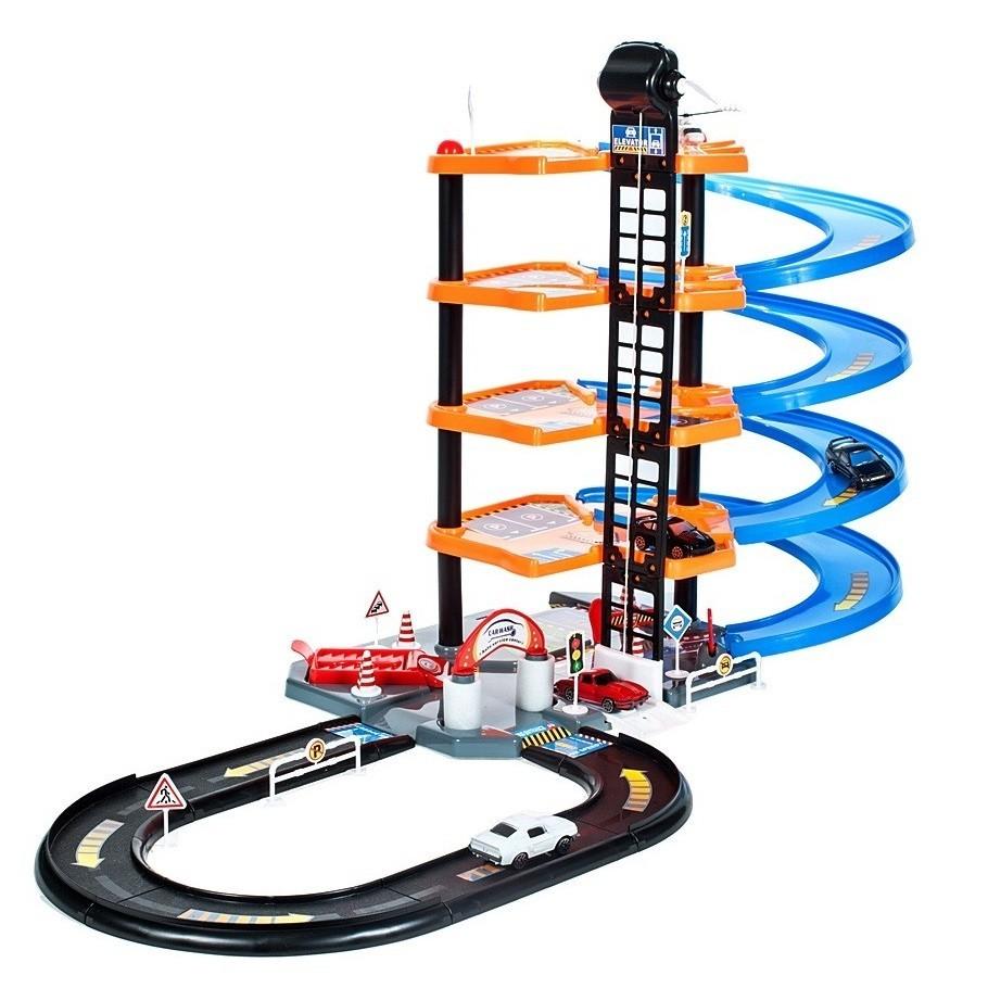 Set de Joaca MalPlay Garaj Circuit cu 4 nivele cu 4 masini, 1 elicopter si accesorii