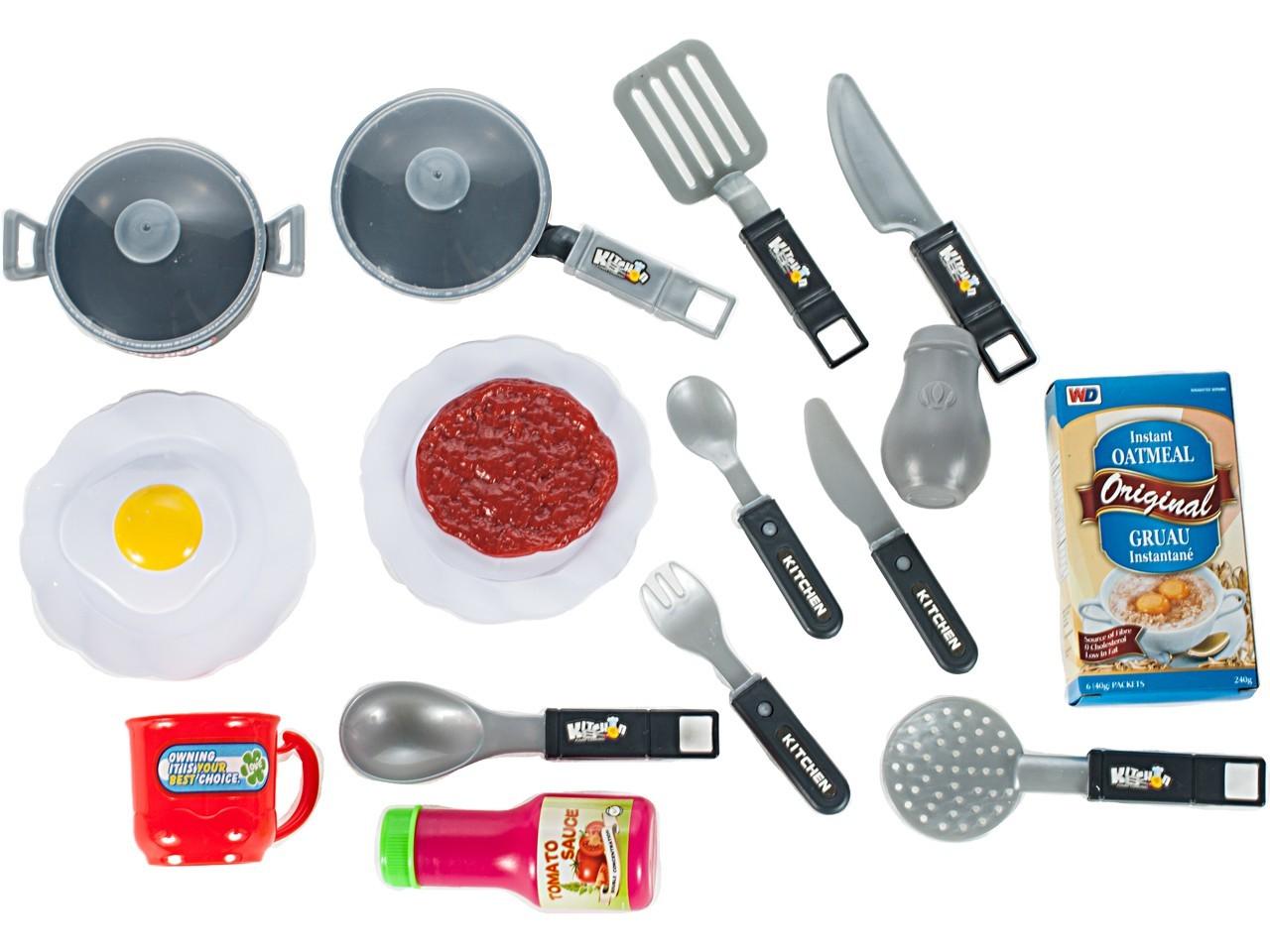 Bucatarie Malplay pentru copii cu accesorii si cuptor, albastru-rosu