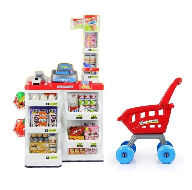 Set de joaca Malplay Supermarket cu carucior, casa de marcat, accesorii, sunete si lumini