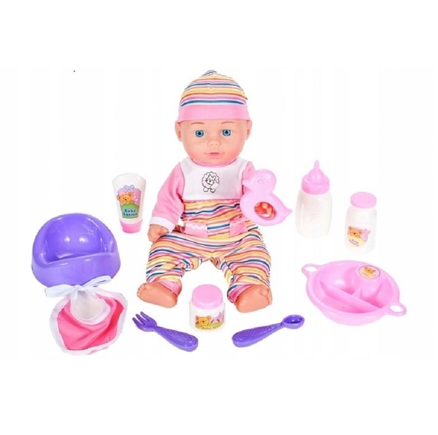 Papusa Bebelus MalPlay pentru fetite cu 10 accesorii 30 cm