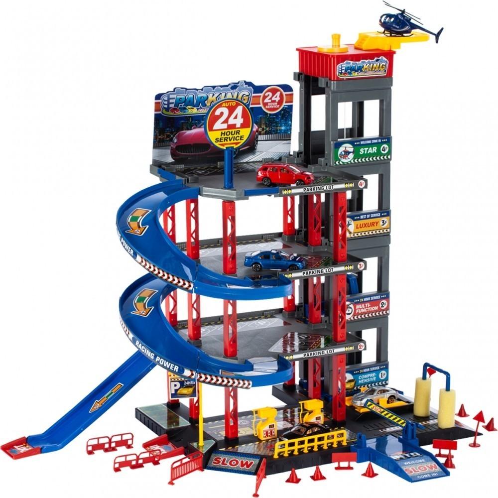 Set de joaca MalPlay Parcare 4 nivele cu lift 4 masinute metalice,1 elicopter si accesorii