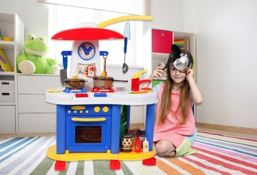 Bucatarie pentru copii MalPLay cu ceas, robinet,carte de bucate si accesorii 70 x 55 cm