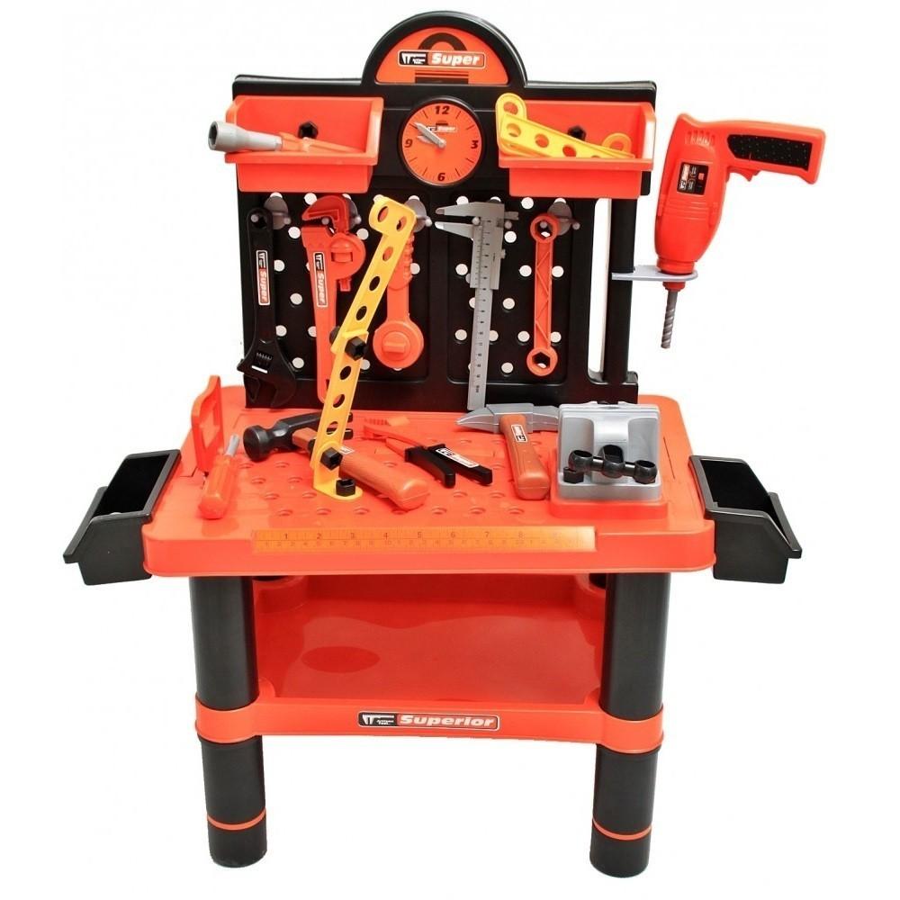 Banc de lucru pentru copii MalPlay bormasina cu baterii si 50 accesorii 68 x 57 cm