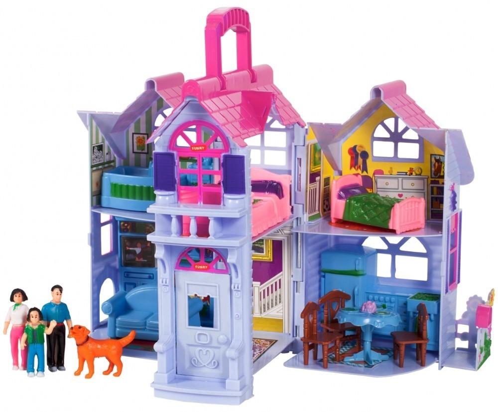 Casuta de papusi portabila My Sweet Home MalPlay mobilata, cu 4 figurine, 24 cm inaltime