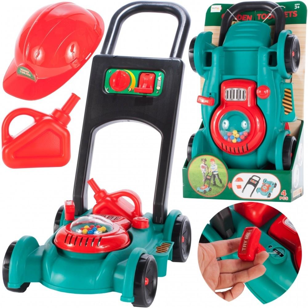 Masina de tuns iarba MalPlay pentru copii cu casca de protectie si sunete
