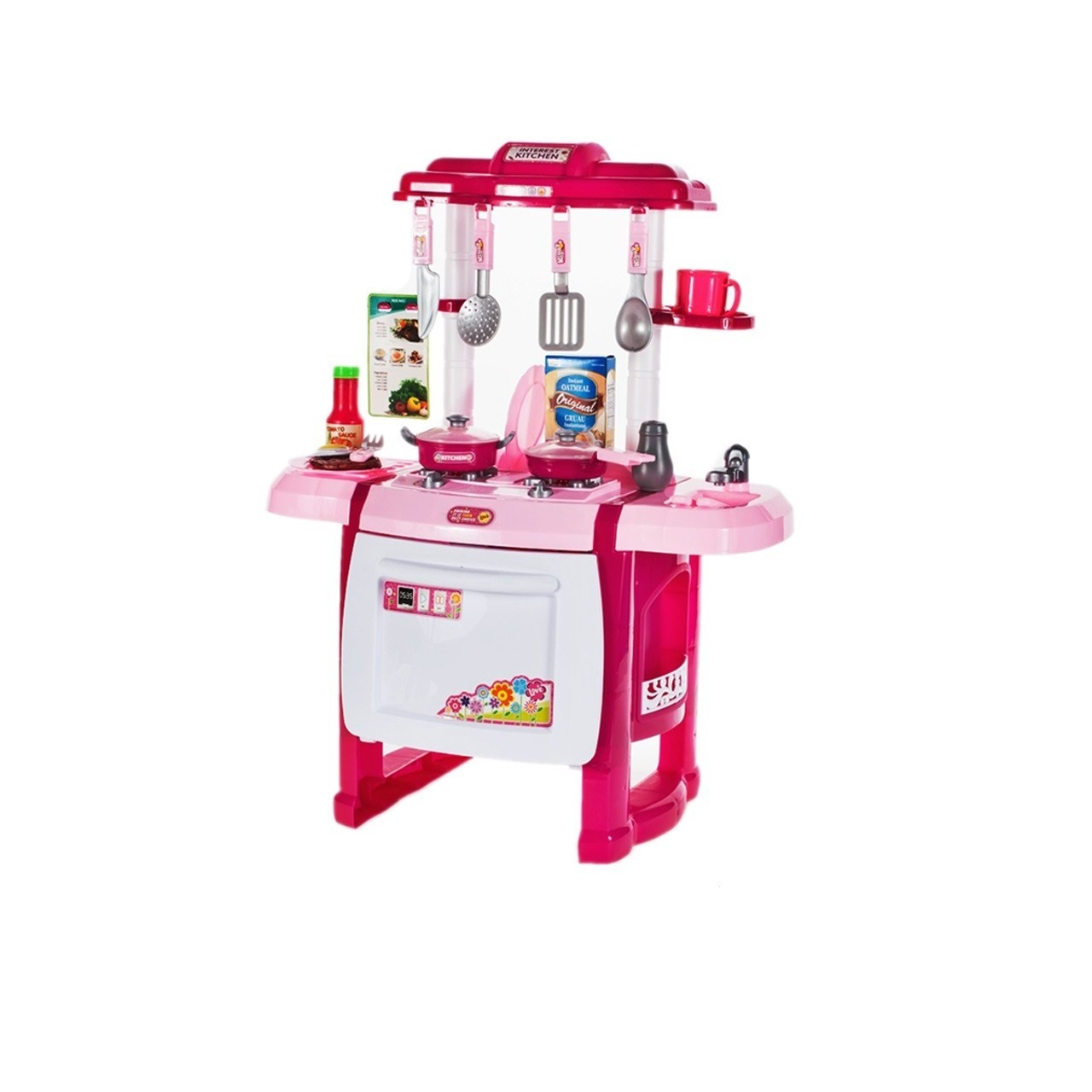 Bucatarie pentru copii MalPlay cu sunete,lumini ,cuptor,chiuveta,accesorii, Roz, 62 cm
