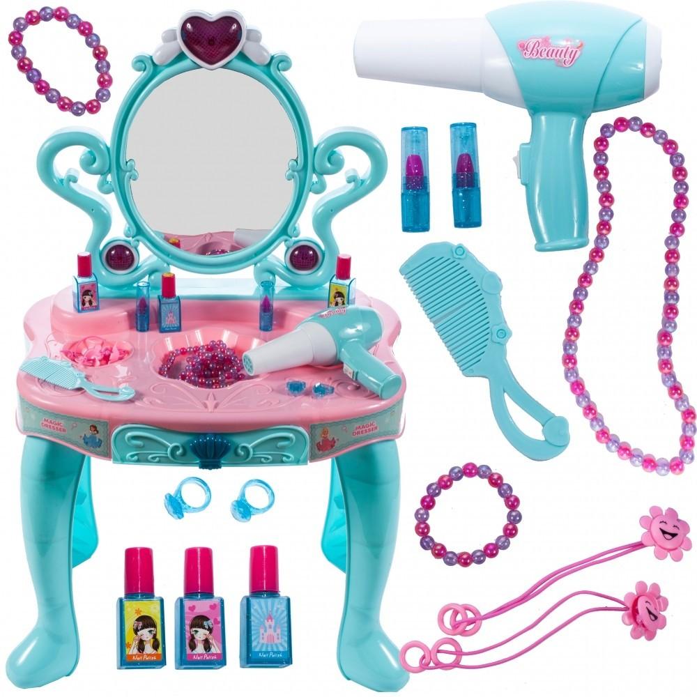 Masuta de infrumusetare MalPlay cu sunete,lumini,accesorii si uscator par cu baterii,pentru fetite, Turcoaz