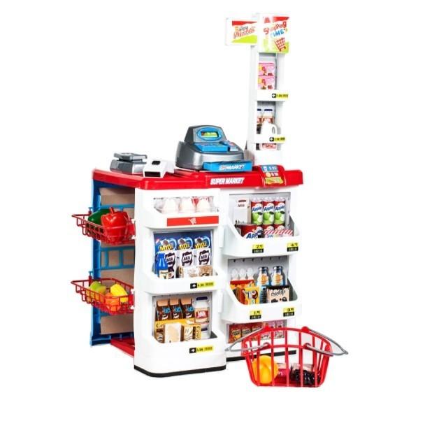 Set de joaca Supermarket Malplay cu cos de cumparaturi, casa de marcat, sunete ,lumini si 24 accesorii